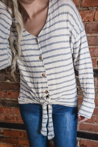 Grey Striped Cable Knit Top S-2X