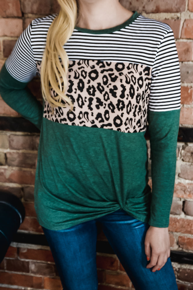 Green Leopard & Stripes Side Twist Top S-2X-Top-9Lilas