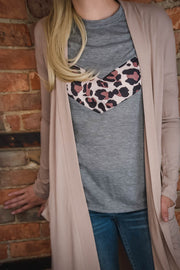 Slouchy Pocket Open Cardigan - Taupe S-3X