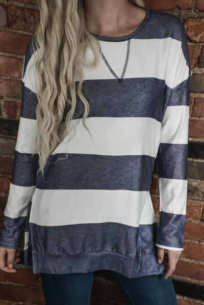 Navy & White Wide Stripe Pullover S-XL