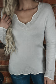 Grey Scalloped Hem Sweater S-2X
