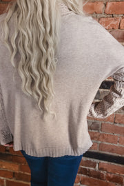 Oatmeal Textured Cowl Neck Sweater S-XL