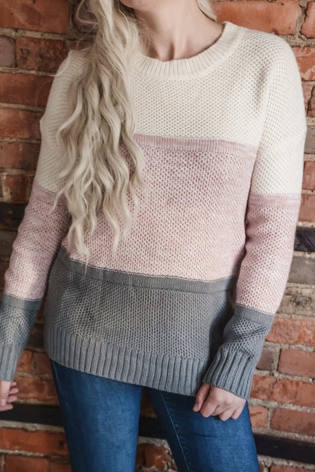 Blush Color Blocked Sweater S-XL