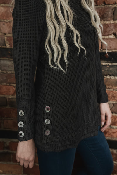 Charcoal Waffle Knit Button Detail Top S-2X