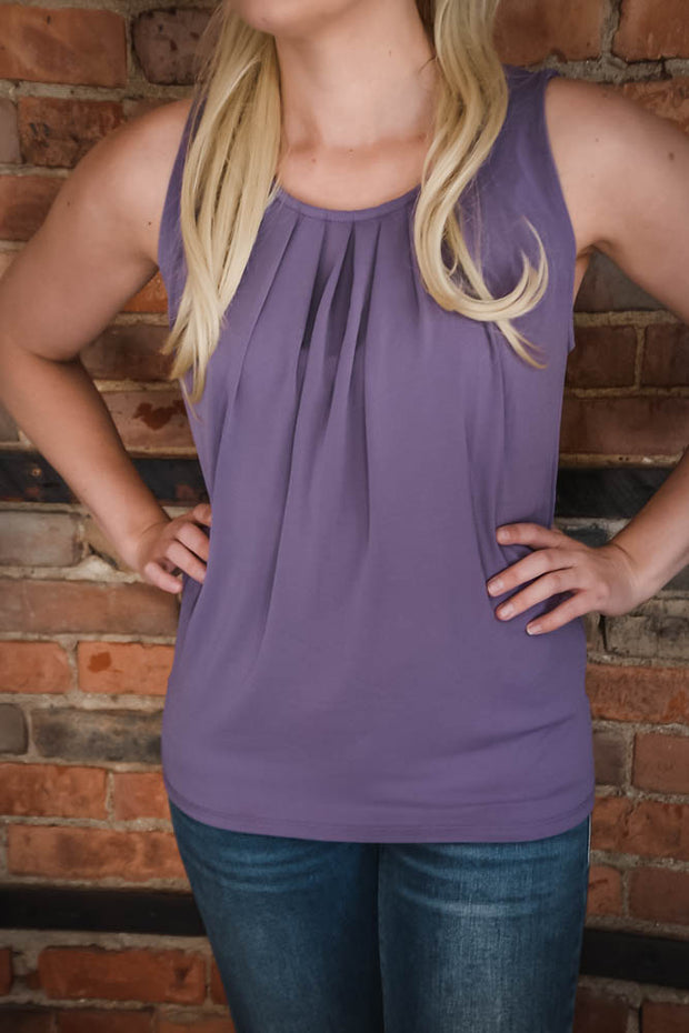 Lavender Pleated Top S-3X