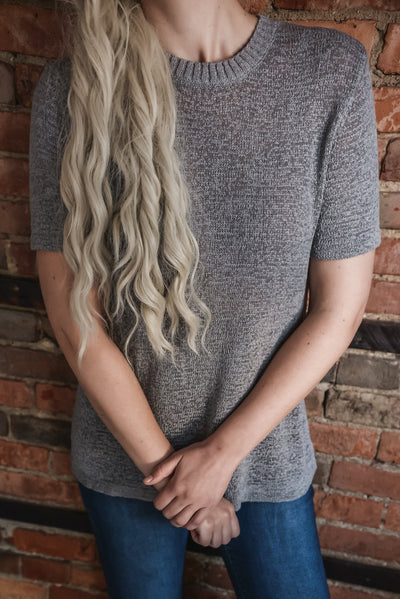 Grey Short Sleeve Mock Neck Sweater S-2X