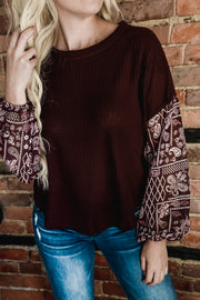 Paisley Bubble Sleeve Top S-XL-Top-9Lilas