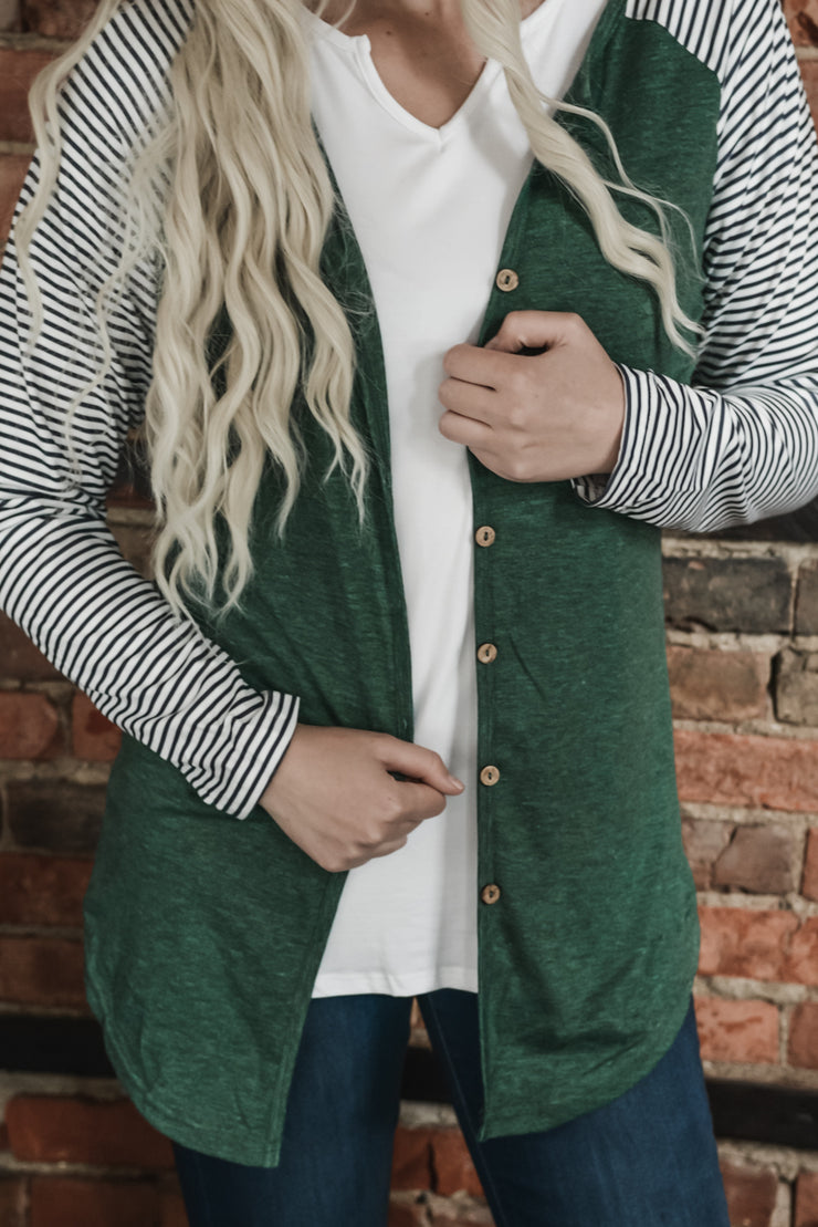 Green Stripe Sleeve Button Top/Cardigan S-2X
