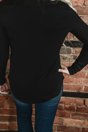 Black Asymmetrical Neckline Top S-2X