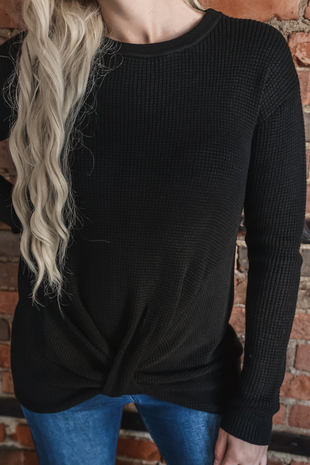 Black Waffle Knit Front Twist Sweater S-XL