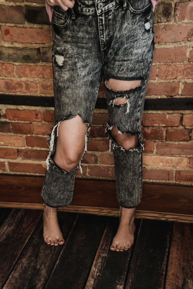Extreme Ripped Mid Rise Denim