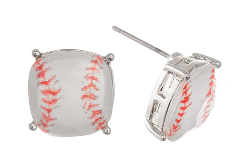 Crystal Baseball Stud Earrings