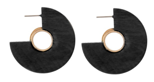 Black Wood Hoops