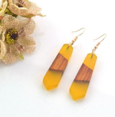 Yellow Sea Glass & Wood Earrings