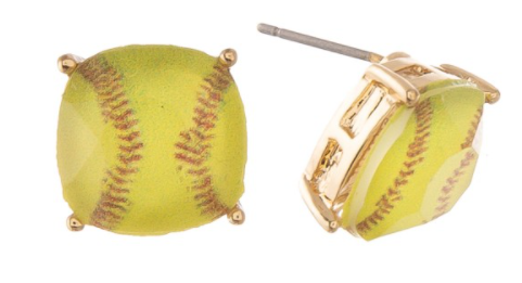 Crystal Softball Stud Earrings