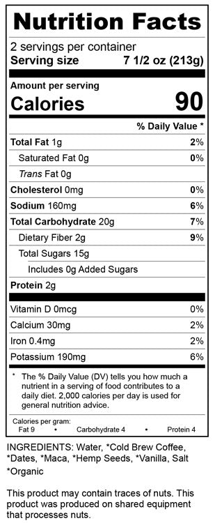 Creamy Cold Brew Nutrition Label, Raw, Organic, Cold Pressed Juice by Bamboo Juices