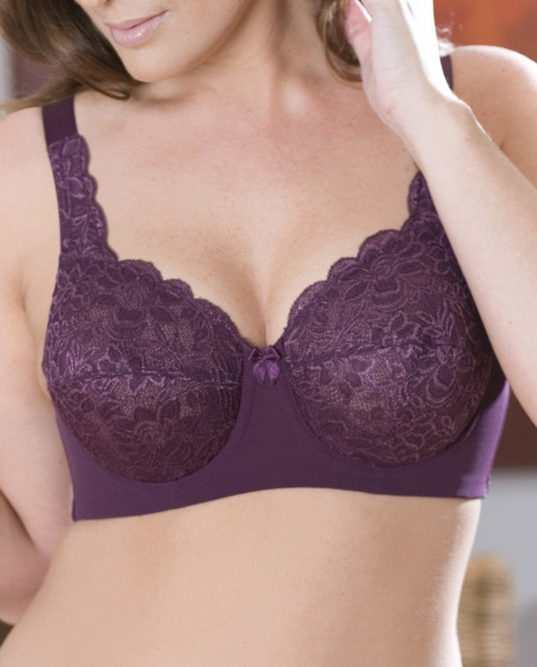 Elila Stretch Lace Full Coverage Underwire Plum
