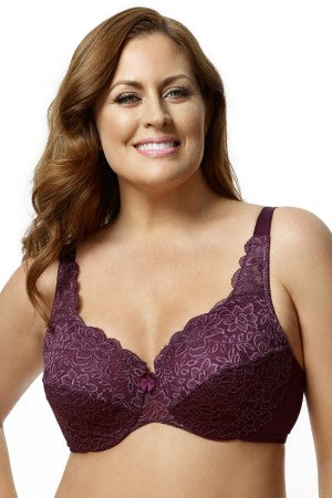 Elila Stretch Lace Underwire Plum