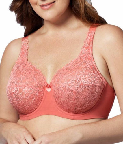 Elila Stretch Lace Full Coverage Underwire Coral