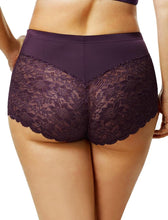 Elila Stretch Lace & Microfiber Cheeky Panty Plum