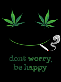 Dont Worry Be Happy Men's T-Shirt featuring a smiling face with marijuana leafs for eyes, smoking a joint.