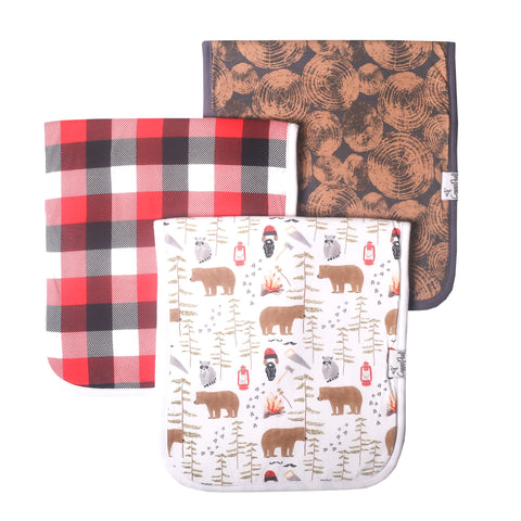 Copper Pearl Single Burp Cloth- Lumberjack