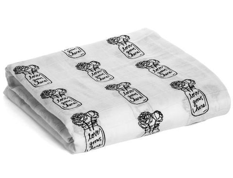 Modern Burlap - Organic Cotton Muslin Swaddle - Peonies ( love grows here)