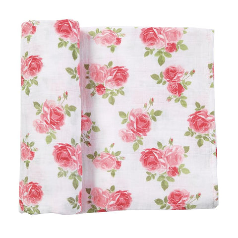 Muslin Pink Rose Swaddle Blanket