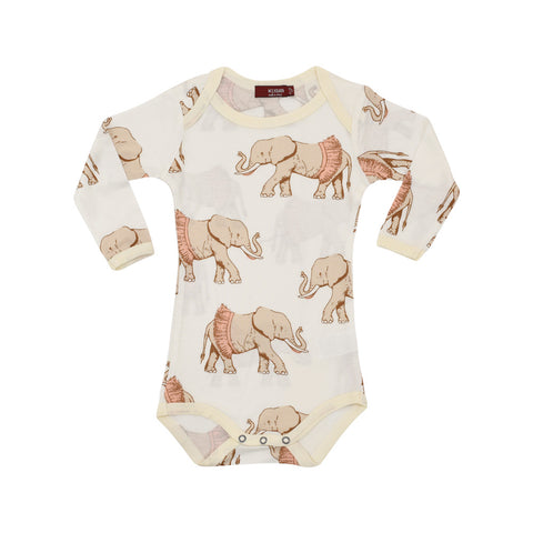 Bamboo Long Sleeve One Piece in Tutu Elephant