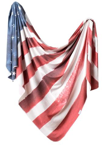Copper Pearl Knit Swaddle Blanket- Patriot (ships 8/23)