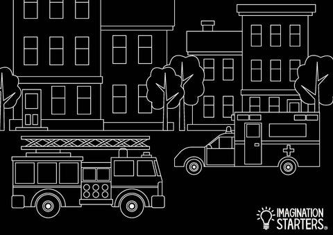 Chalkboard Emergency Vehicle Placemat