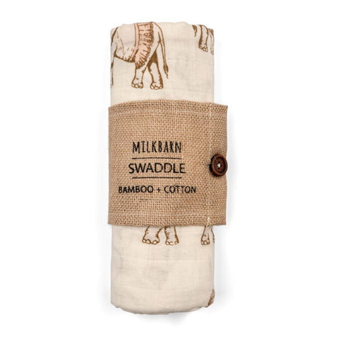 Bamboo Swaddle Blanket in Tutu Elephants