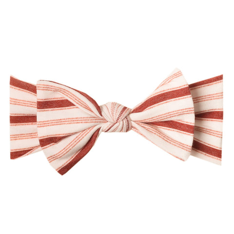 Copper Pearl Knit Headband Bow - Cinnamon