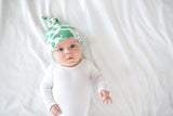 Copper Pearl Newborn Top Knot Hat- Forest
