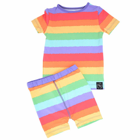 Short Sleeve with Shorts Pajama Set - Rainbow Stripe