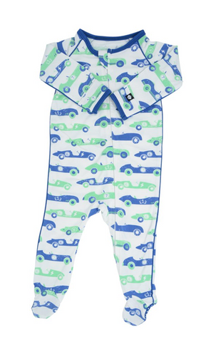 Piped Footie- Blue and Green Vintage Racer