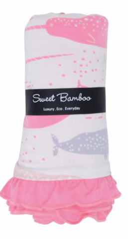 Receiving Blanket with Ruffle- Pink Narwhal Bliss