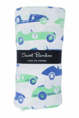 Receiving Blanket with Binding- Blue and Green Vintage Racer