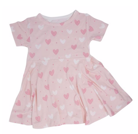 Short Sleeve Swirly Girl Dress- Pink Hearts