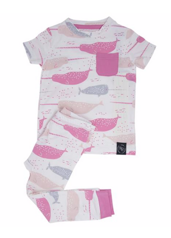 Short Sleeve Pajama Set with Pants- Pink Narwhal