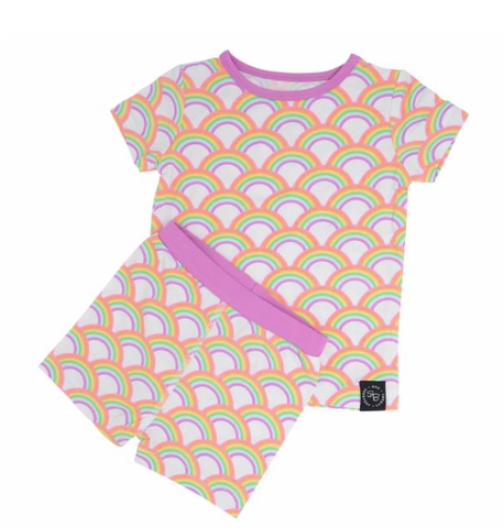 Short Sleeve Pajama Set with Shorts- Rockin Rainbow