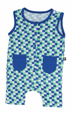 Tank Romper- Blue and Green Race Flag