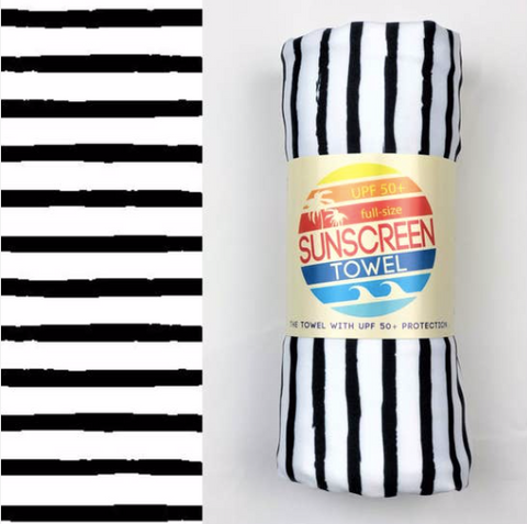 UPF 50+ Suncreen Towel -  Black Stripes