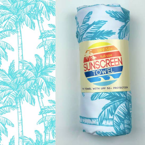 UPF 50+ Suncreen Towel -  Blue Palm Trees