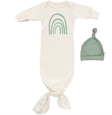 Tenth and Pine Rainbow Gown and Hat Set- Seafoam
