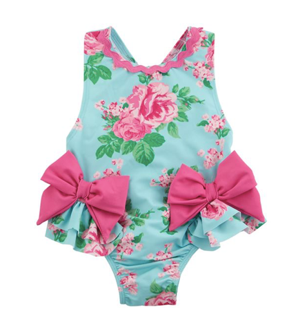 Mud Pie Garden Rose Bow Swimsuit