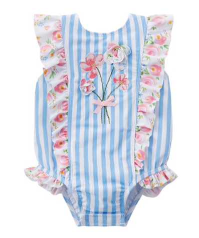 Mud Pie Striped Rosebud Swimsuit