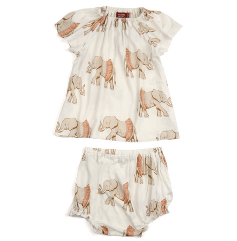 Milk Barn Dress and Bloomer Set- Tutu Elephant
