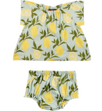Milk Barn Dress and Bloomer Set- Lemons