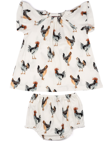 Milk Barn Dress and Bloomer Set- Chickens